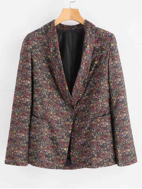 hot Shawl Collar Floral Print Blazer - MULTI S Mobile