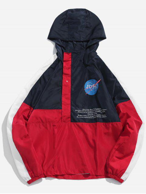 women's Contract Color Hooded Pullover Jacket - RED 2XL Mobile