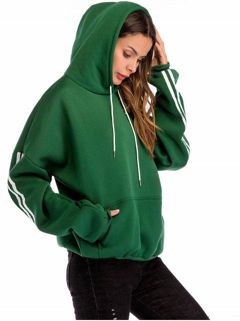 sale Pullover Fleece Lined Pouch Pocket Hoodie - DEEP GREEN L Mobile