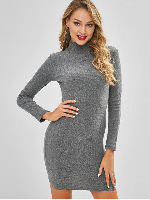 latest Ribbed Mock Neck Bodycon Jumper Dress - BATTLESHIP GRAY ONE SIZE Mobile