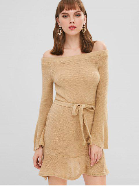 Schulterfrei Pullover Kleid mit Gürtel - Tan M Mobile