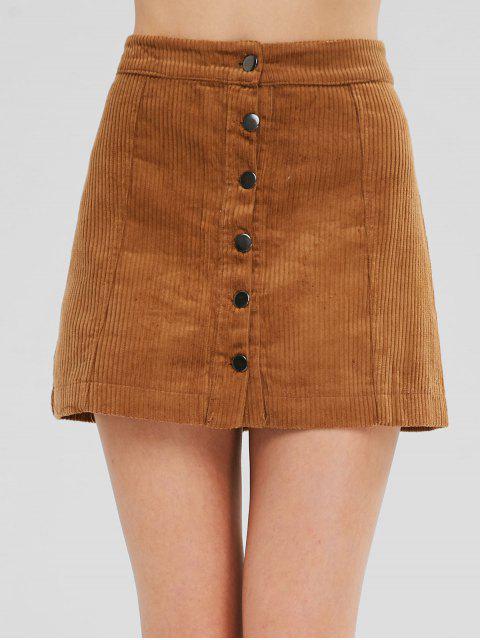 fashion Button Up Corduroy Mini A Line Skirt - LIGHT BROWN L Mobile