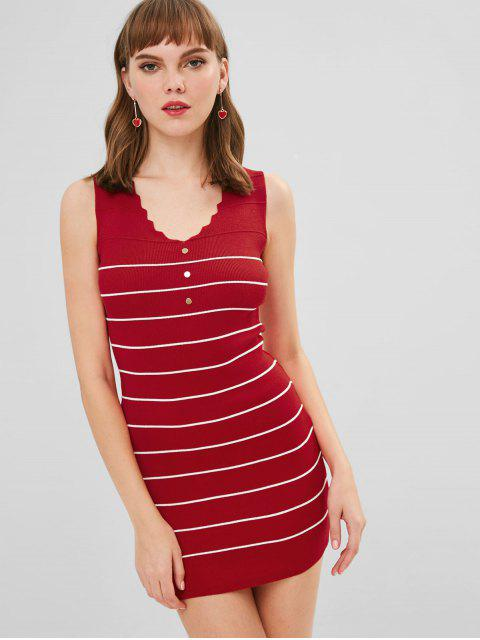 ladies Sleeveless Striped Bodycon Sweater Dress - RED ONE SIZE Mobile