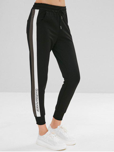 Pantalones de jogger con bolsillo con cordón - Negro 2XL Mobile