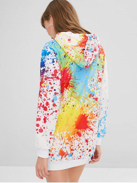 lady Splatter Paint Pocket Hoodie Dress - WHITE M Mobile