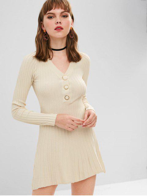 Langärmliges, halbgeknöpftes Pulloverkleid - Beige  Eine Größe Mobile