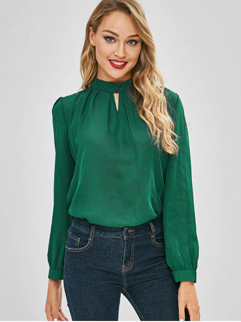 outfits Ruched Keyhole Blouse - MEDIUM SEA GREEN XL Mobile