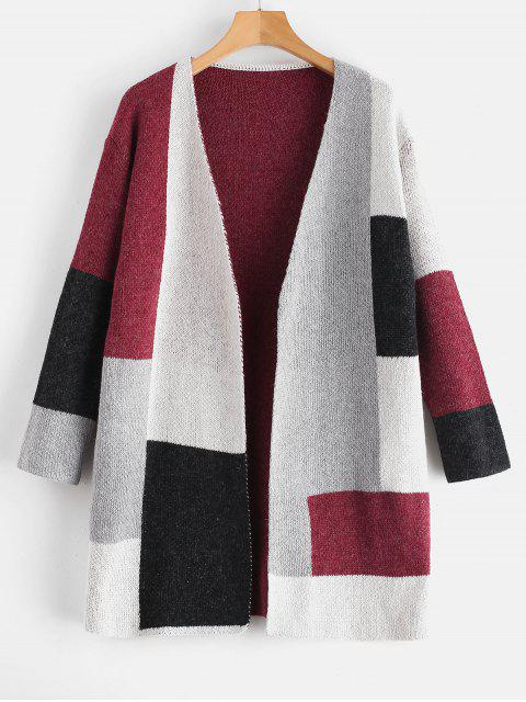 unique Patchwork Knit Color Block Open Cardigan - RED WINE L Mobile
