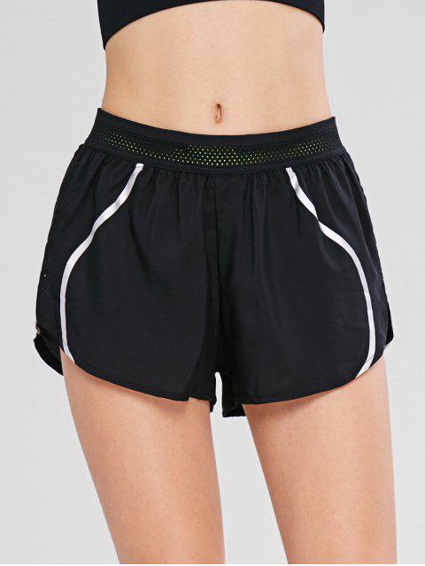 chic Reflective Design Pocket Overlay Sport Shorts - BLACK L Mobile
