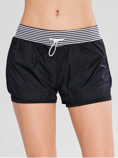Shorts a rayas con cordones deportivos superpuestos - Negro L Mobile