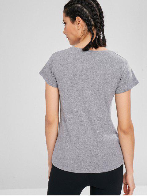 T-shirt de Sport Chiné à Manches Courtes - Gris XL Mobile