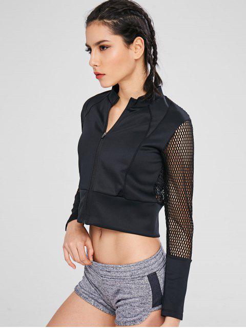 Aushöhlen Crop Zipper Jacket - Schwarz M Mobile