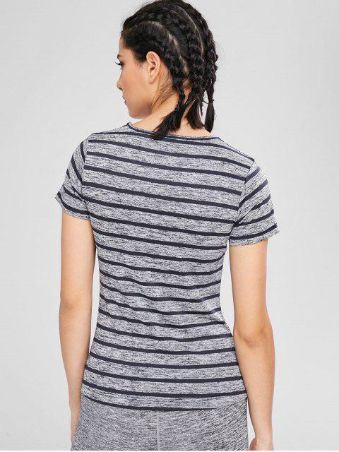 T-shirt Rayé à Col V - Gris L Mobile