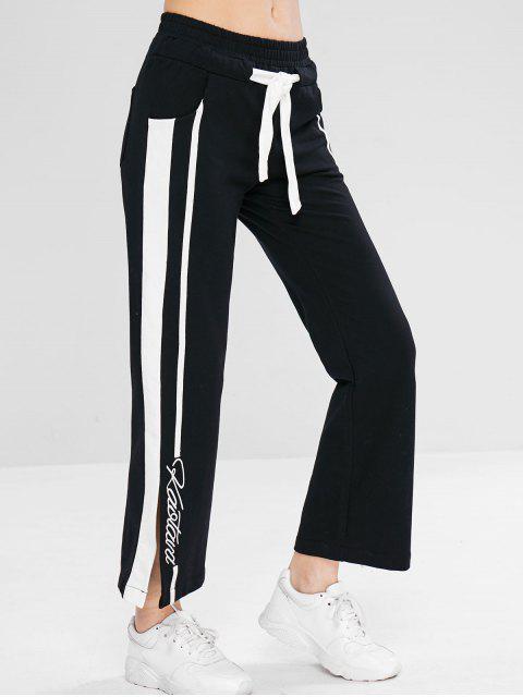 Pantalon de survêtement fendu avec cordon de serrage - Noir L Mobile