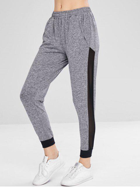 Pantalon de Jogging Chiné en Maille Insérée - Gris L Mobile