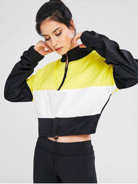 hot Color Block Zip Pullover Sport Jacket - MULTI M Mobile
