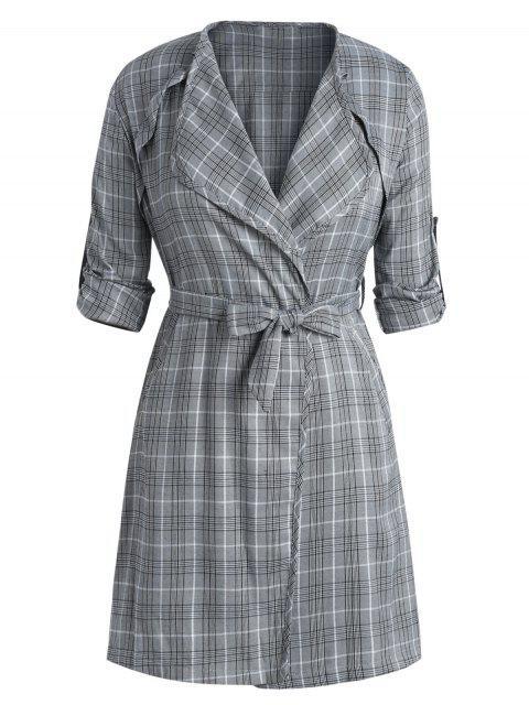 women's Plus Size Side Slit Plaid Belted Coat - BLACK 2X Mobile