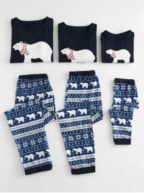 fashion Polar Bear Printed Christmas Family Pajamas Sets - BLUE MOM  M Mobile