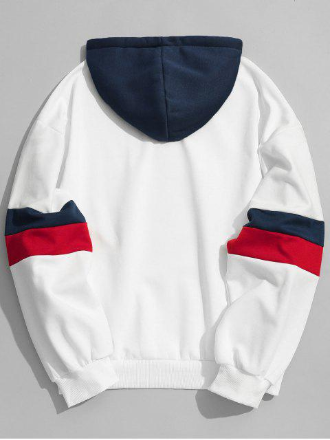 shop Drawstring Splicing Color Block Hoodie - WHITE L Mobile