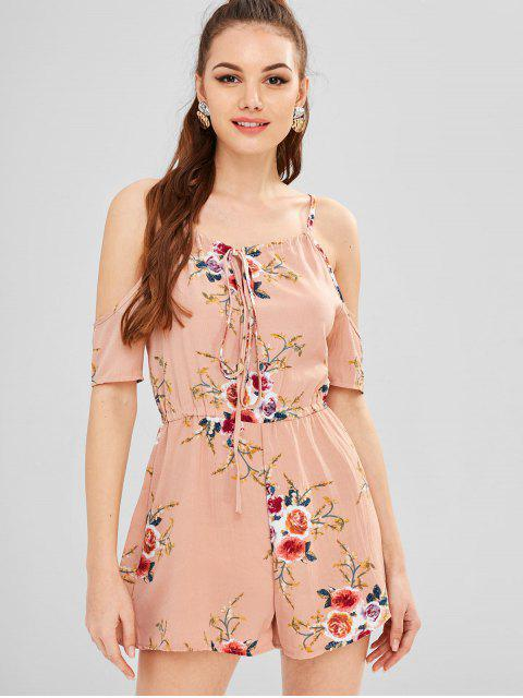 chic Printed Cold Shoulder Romper - PINK S Mobile