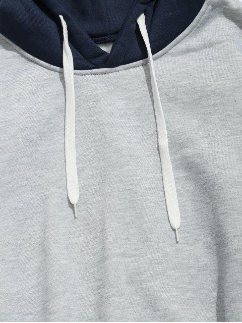 unique Drawstring Splicing Color Block Hoodie - LIGHT GRAY L Mobile