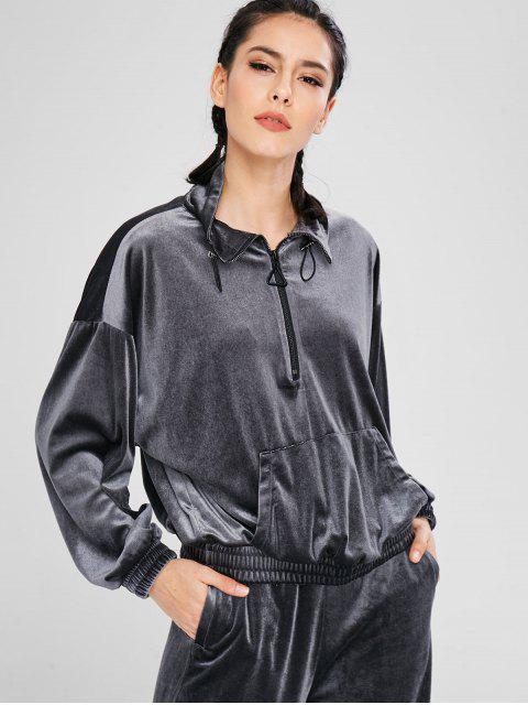 ladies Athletic Velvet Half Zip Sweatshirt - GRAY L Mobile