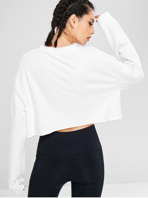 Brief drucken Sport Raw Hem Sweatshirt - Weiß M Mobile