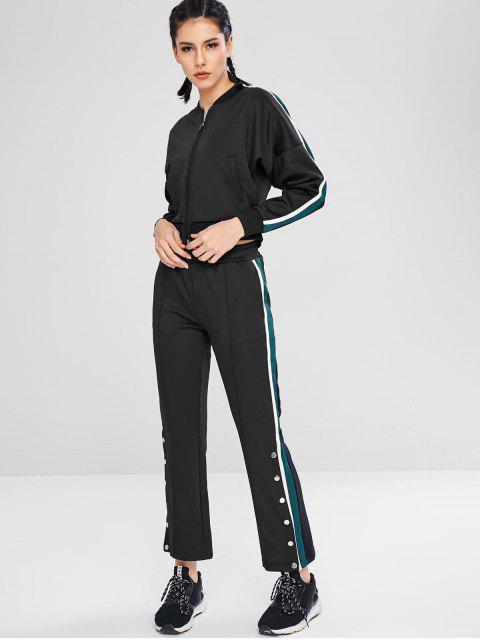 sale Striped Drop Shoulder Boot Cut Pants Set - BLACK L Mobile