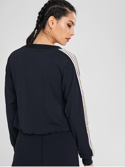 Hombro de rayas a rayas colorido camiseta - Negro M Mobile