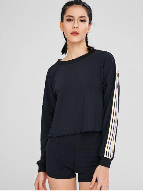 Buntes gestreiftes Tropfen-Schulter-T-Shirt - Schwarz M Mobile