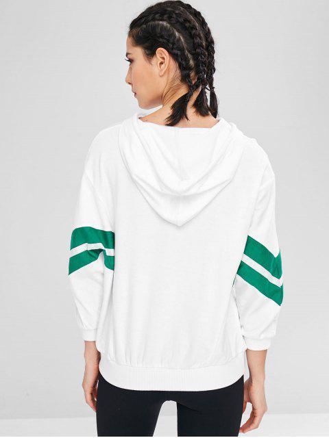 Athletischer Kontrast-Hoodie mit Buchstaben-Print - Weiß L Mobile
