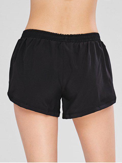 Kordelzug Zipper Overlay Sport Shorts - Schwarz M Mobile