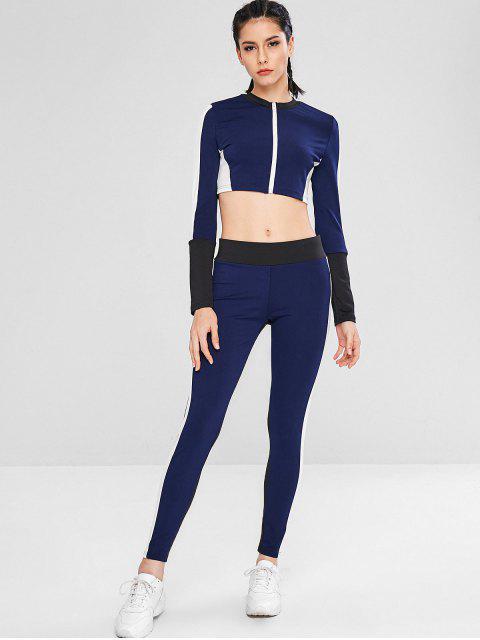 Conjunto de sudaderas y leggings deportivos color block. - Azul de Medianoche M Mobile