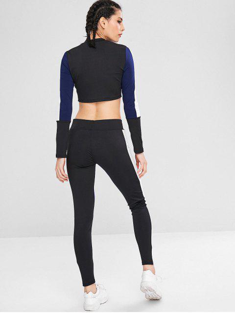 Sport Color Block Sweatshirt und Leggings Set - Mitternacht Blau L Mobile