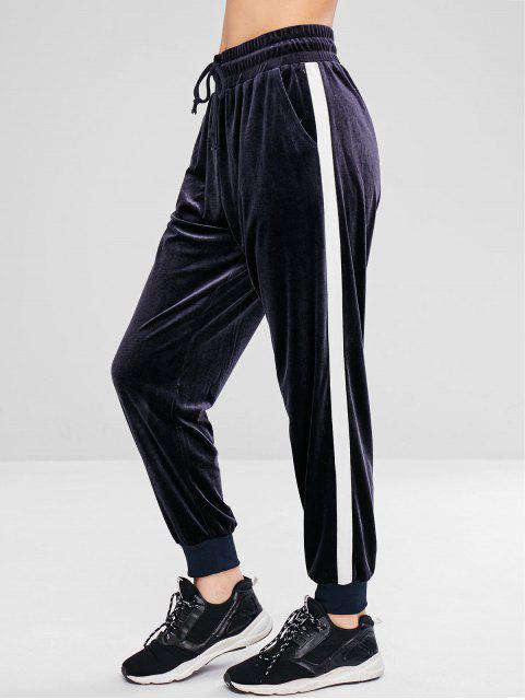 shop ZAFUL Color Block Velvet Jogger Pants - BLUE GRAY L Mobile