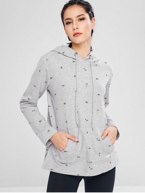 Sudadera con capucha de bolsillo con cordón estampado deportivo - Gris M Mobile