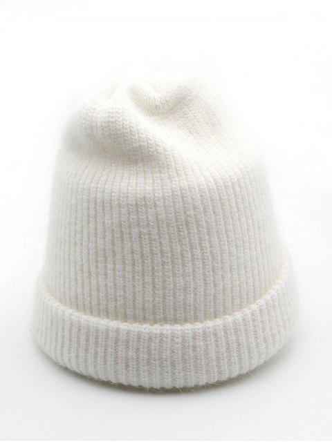 fancy Solid Color Flanging Ski Beanie - WHITE  Mobile