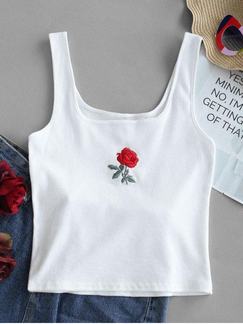 shop Rose Embroidery Ribbed Tank Top - WHITE S Mobile