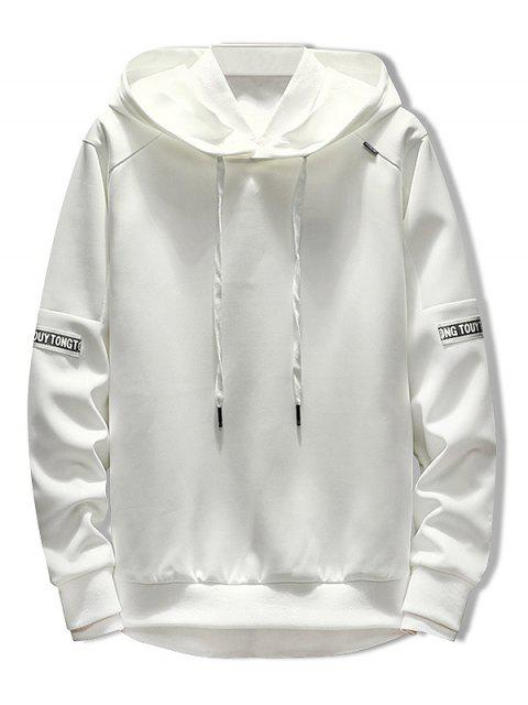 buy Letter Stripe Patchwork Hoodie - WHITE XL Mobile