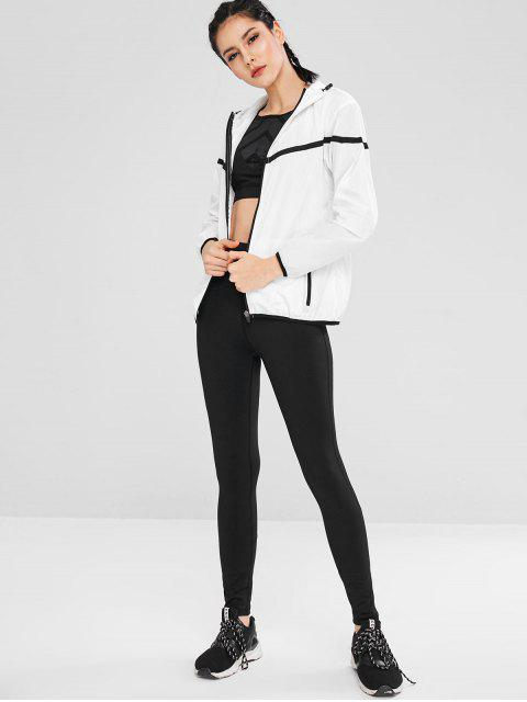Mit Kapuze Color Block Zipper Jacket - Weiß M Mobile