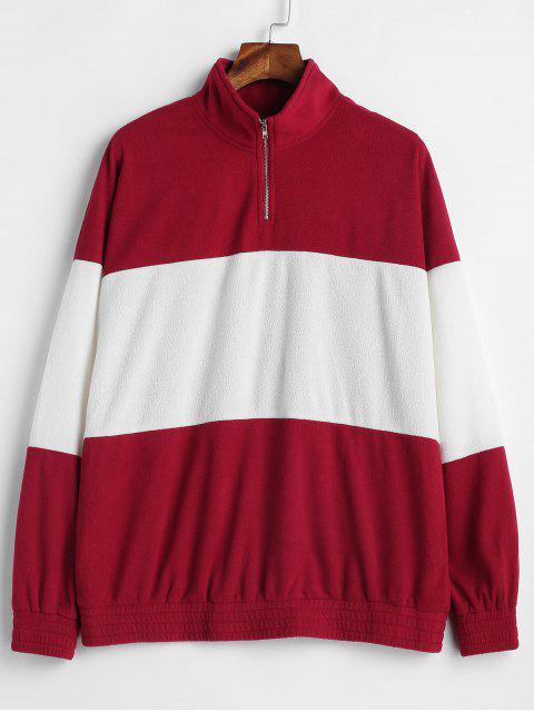 buy ZAFUL Half Zip Two Tone Tunic Sweatshirt - MULTI M Mobile
