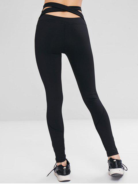 latest High Waisted Criss Cross Leggings - BLACK M Mobile
