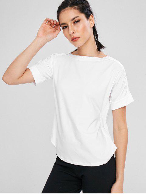 T-shirt Noué au Dos à Pois - Blanc L Mobile