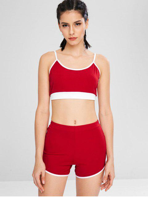fancy Color Block Bralette Shorts Set - RED M Mobile