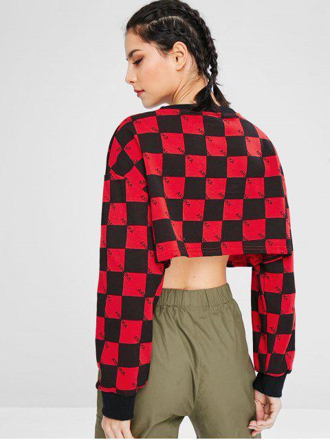Sweat-shirt sport à carreaux et épaules tombantes - Multi S Mobile