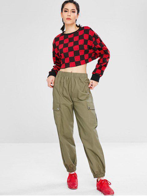 Sweat-shirt sport à carreaux et épaules tombantes - Multi M Mobile
