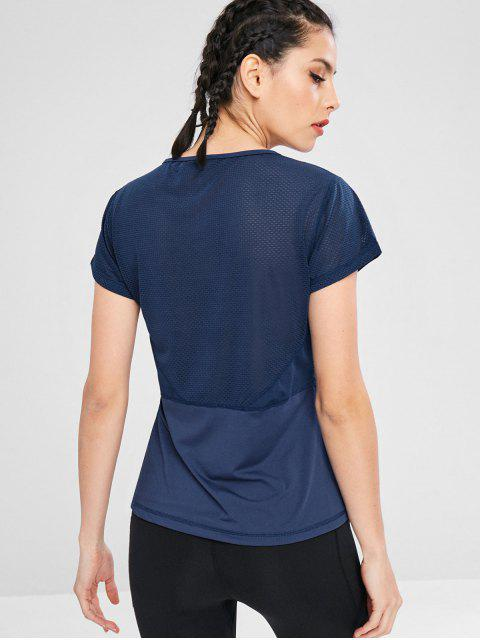 Perforiertes Kurzarm-T-Shirt - Kadettenblau L Mobile