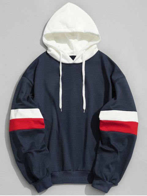 outfit Drawstring Splicing Color Block Hoodie - DEEP BLUE XS Mobile