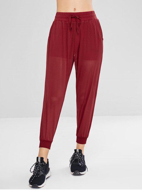 Pantalon de Neuf Minutes Perforé à Cordon - Rouge M Mobile