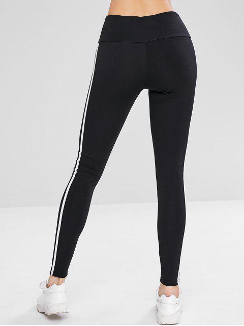 Leggings deportivos de cintura ancha a rayas - Negro L Mobile